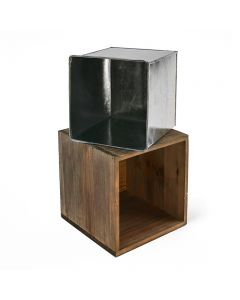 12 inch cube wooden planter box with zinc liner