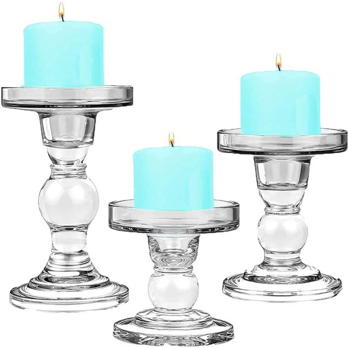 Hurricane Candle Holders for Pillar Candles Ideal for 3 Pillar Candles and LED Candles Metal Base With Hurricane Glass Cover Dining Table Decor Pillar Candle Holders Set of 2 Table Centerpieces