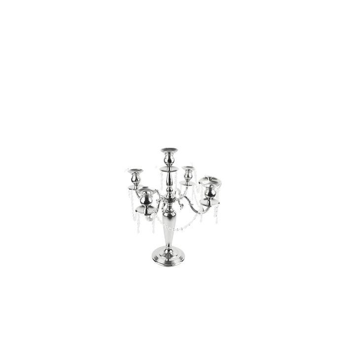 Candelabra Dangling Beads Silver H-24