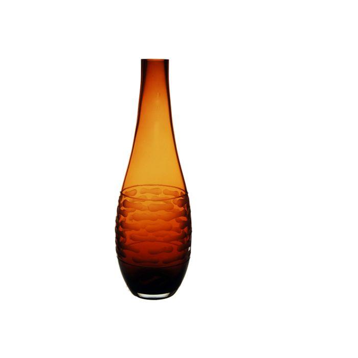 Teardrop Decorative Vase, Amber. H-14