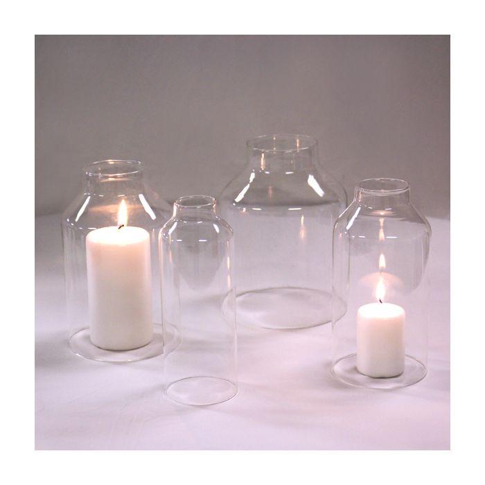 Glass Holiday Candle Shade Set