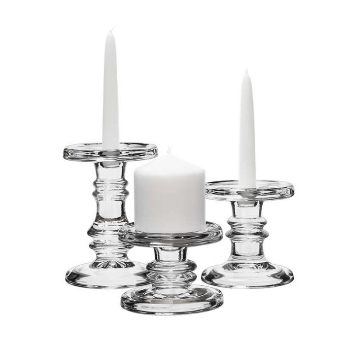 glass pillar taper candle holder