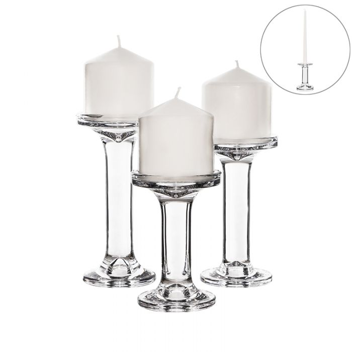 Modern Glass Candlesticks, Taper & Pillar Candle Holders. Set of 3