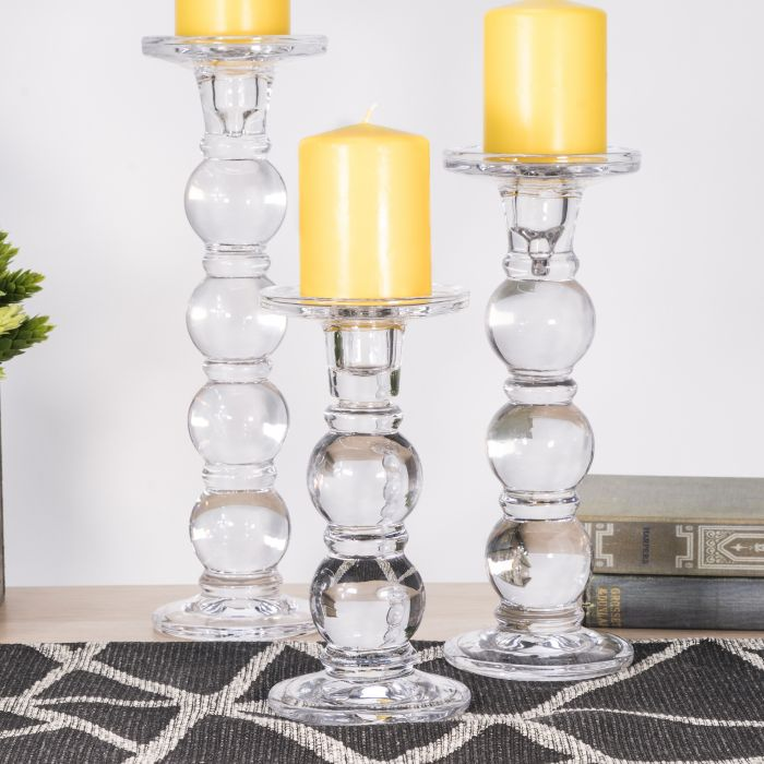 Bubble glass pillar Candle Holder - stunning and crystal clear