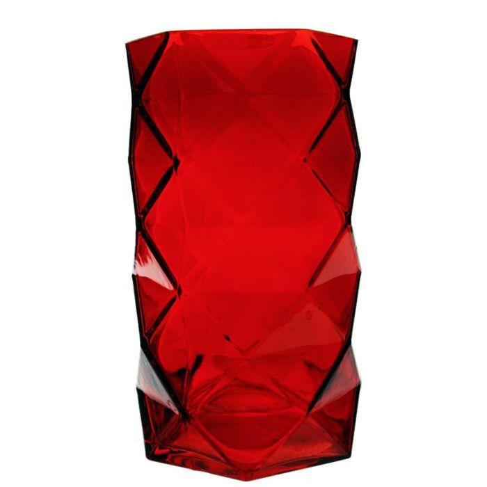 Origami Red Glass Vase
