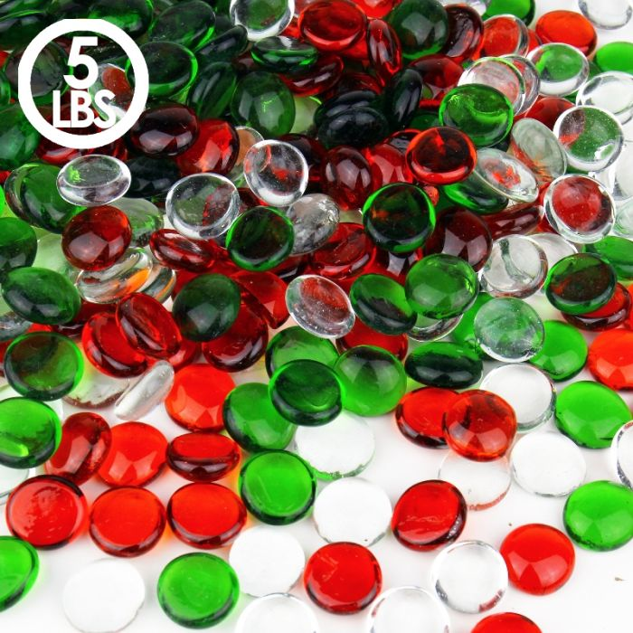 Our flat glass marbles can come in clear, red, and green.