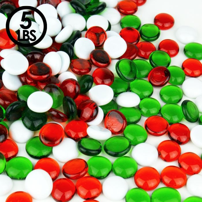 Our flat glass marbles can come in white, red, and green.