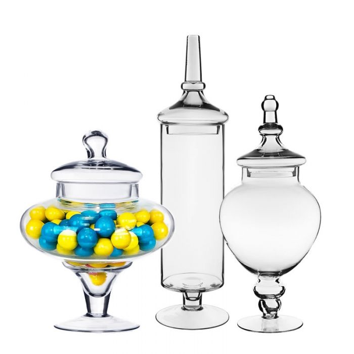 Glass Apothecary Candy Buffet Jar Set of 3. H-10