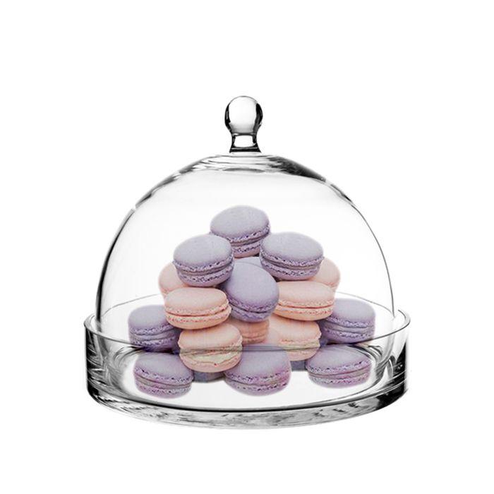 Glass Cloche Bell Jar Terrarium Dome w/ Tray, H-7.5
