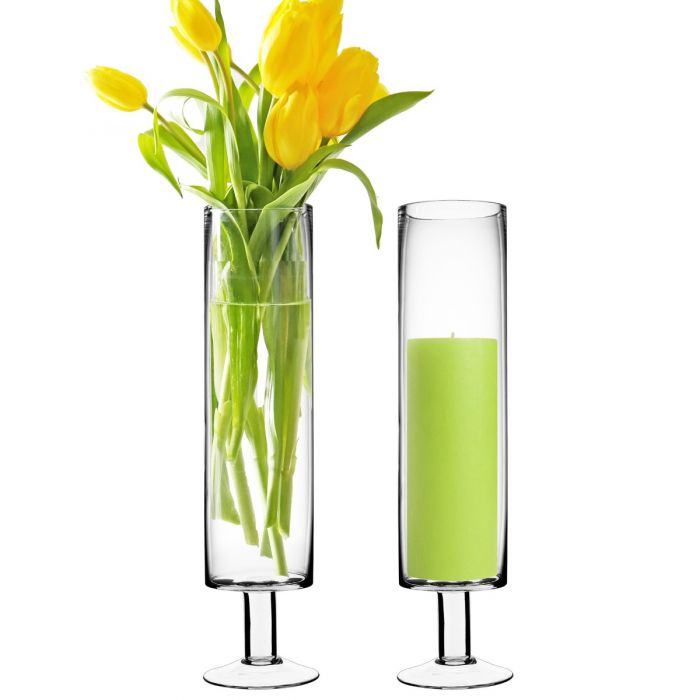 short stem glass pillar candle holder