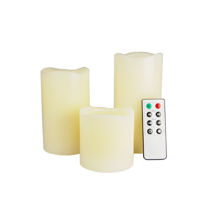 Real Wax Pillar Candles Set LED Mood Lighting with Remote Control