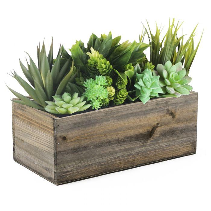 Wood Rectangle Planter Box w/ Plastic Liner H-4