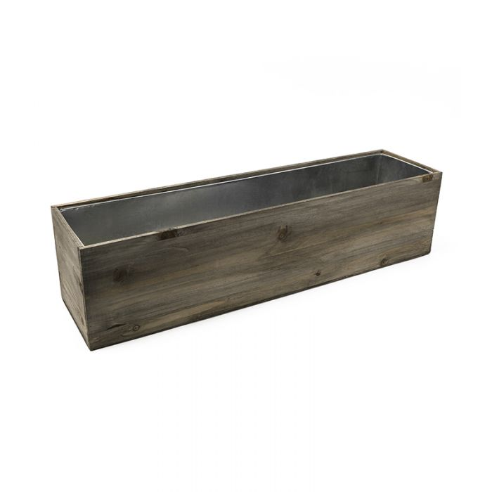 wood planter with zinc liner