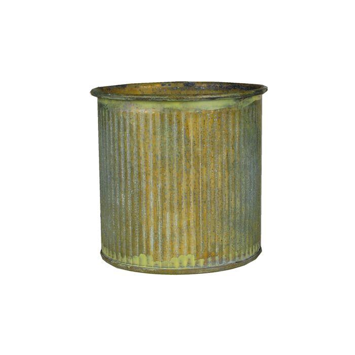 Ridged Rustic Aged Finish Zinc Cylinder Petite Pot 3