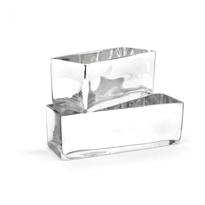 Silver Rectangle Vases