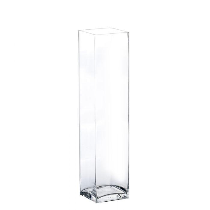 Glass Square Vase H-24