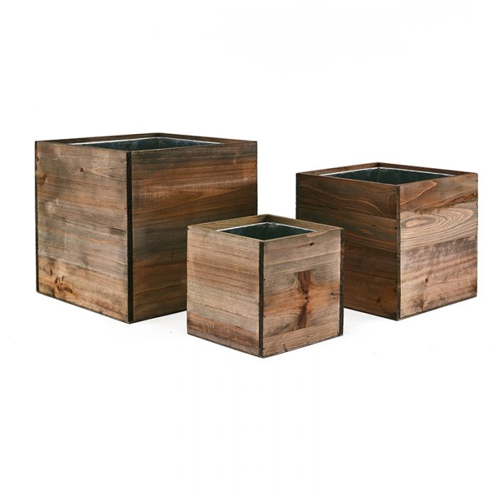6 in 8 in 10 in cube wooden planter box set with zinc liner combination