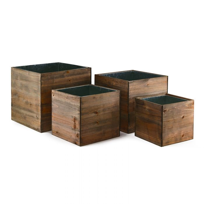 8 in 10 in 12 in 14 in cube wooden planter box set with zinc liner combination