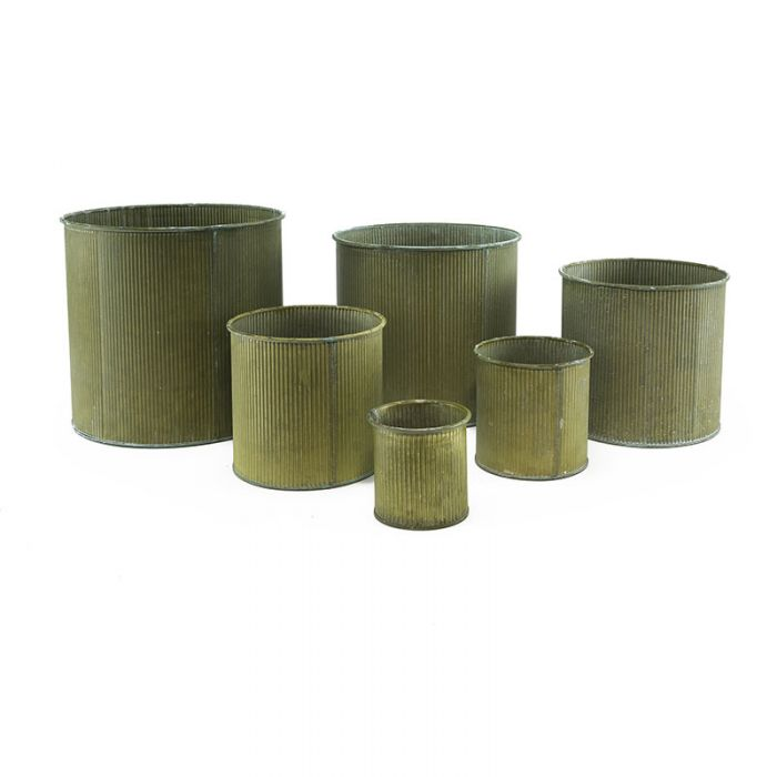 Wholesale Corrugated Zinc Metal Galvanized Cylinder Planter Set