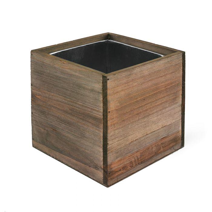 Wood Cube Planter Box w/ Zinc Liner Natural H-4