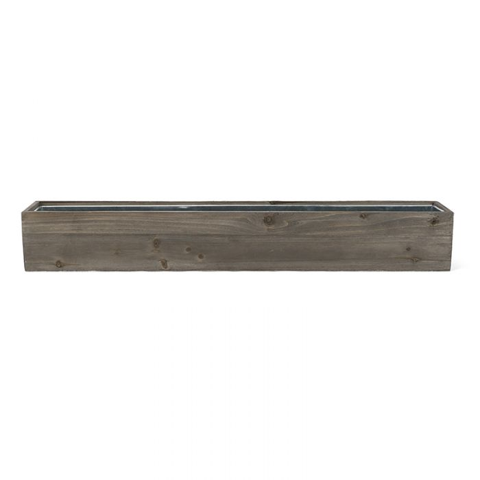 6 inch Wood Rectangle Planter Box w/ Zinc Liner Natural Wholesale Package