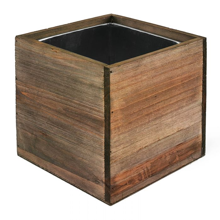 10 inch wooden planter box with zinc liner